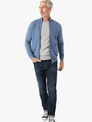 Cotton Zip Through Arm Stripe Cardigan0