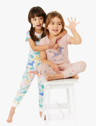 2 Pack Pure Cotton Unicorn Pyjama Sets0