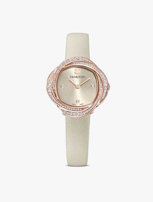 Crystal Flower Watch, Leather Strap, Gray, Rose-Gold Tone PVD0