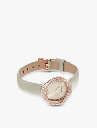 Crystal Flower Watch, Leather Strap, Gray, Rose-Gold Tone PVD2