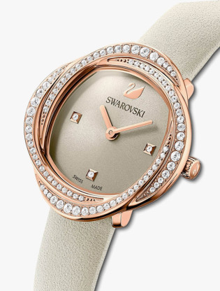 Crystal Flower Watch, Leather Strap, Gray, Rose-Gold Tone PVD3