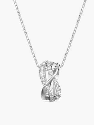 Twist Rows Pendant, White, Rhodium Plated0