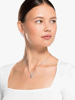 Twist Rows Pendant, White, Rhodium Plated3