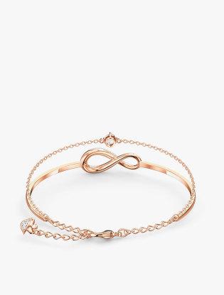 Swarovski Infinity Bangle, White, Rose-Gold Tone Plated2