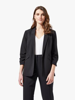 Black Ruched Sleeve Jacket0