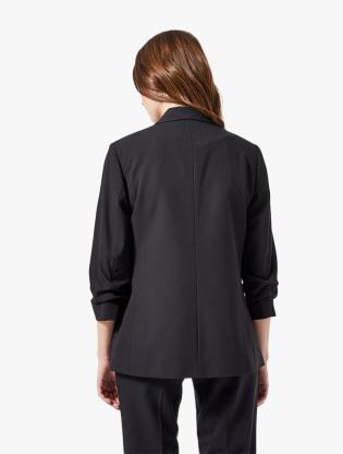 Black Ruched Sleeve Jacket1