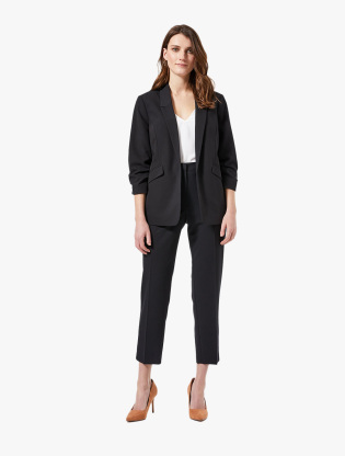 Black Ruched Sleeve Jacket2