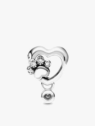 Sparkling Paw Print & Heart Charm2