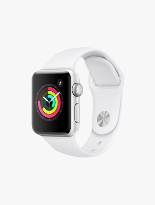 Apple Watch Series 3 GPS 38MM Silver Aluminum Case White Sport Band0