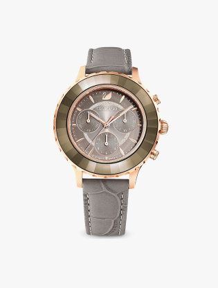 Octea Lux Chrono Watch, Leather Strap, Grey, Rose-Gold Tone Pvd0