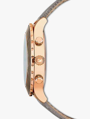 Octea Lux Chrono Watch, Leather Strap, Grey, Rose-Gold Tone Pvd1