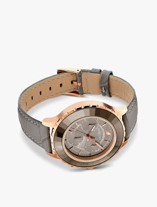 Octea Lux Chrono Watch, Leather Strap, Grey, Rose-Gold Tone Pvd2