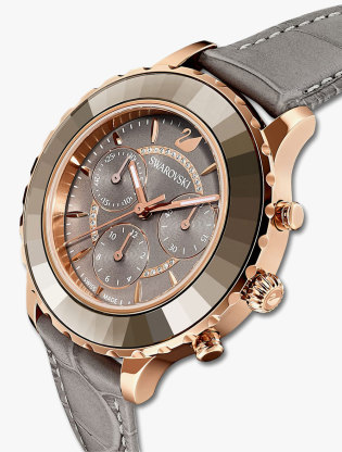 Octea Lux Chrono Watch, Leather Strap, Grey, Rose-Gold Tone Pvd3